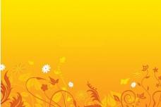 橙黄背景动态花纹设计ppt模板