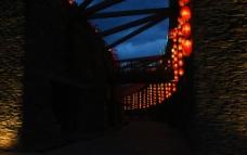 灯笼小道夜景图片