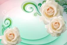 3D 玫瑰 背景图片