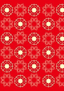 红色花型背景矢量素材