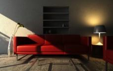 红沙发图片