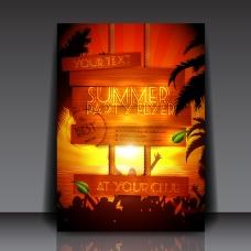夏日派對宣傳單矢量素材