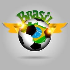 时尚巴西世界杯足球背景矢量素材