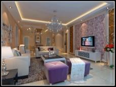 紫色沙发背景墙