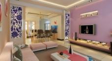 粉色客厅背景墙