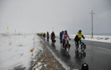 5月青海湖飘雪中前行图片