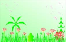 绿色花草背景图片