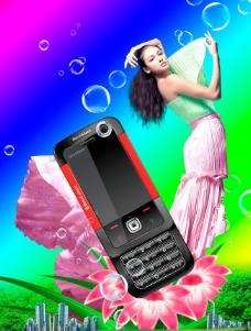 时尚直板手机设计宣传海报图片