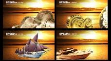 金色企业文化展板设计PSD素材