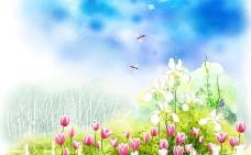 春姿盎然春季背景PSD素材