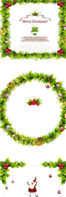 圣诞用的花环边框素材