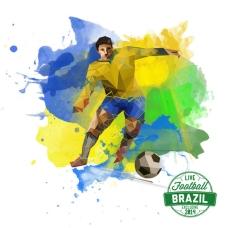 巴西足球喷彩矢量