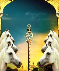 欧式意境元素 白马