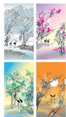 四季树木图片