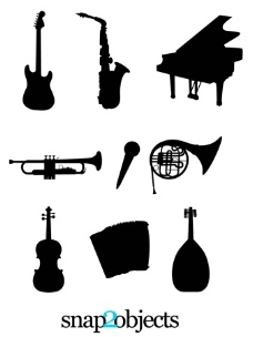 乐器的剪影