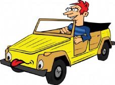 男孩驾驶汽车动画剪辑艺术
