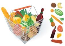 水果和蔬菜和购物篮04矢量