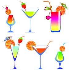 卡通高玻璃和果汁01矢量
