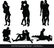 男性和女性的黑白剪影矢量
