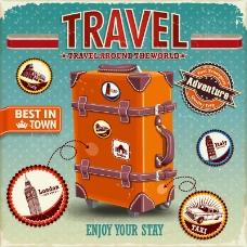 复古旅行箱海报矢量素材