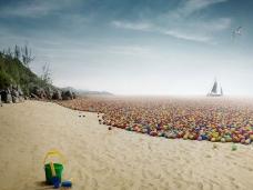 沙滩上的彩色圆球PPT