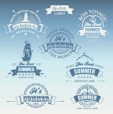 白色和深蓝色的夏季旅游标签矢量01