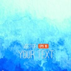 蓝色水彩画背景矢量