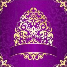 金色和紫色的复活节图案背景矢量02