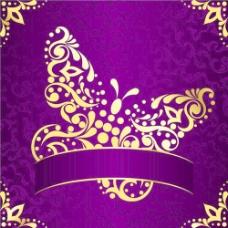 金色和紫色的复活节图案背景矢量04