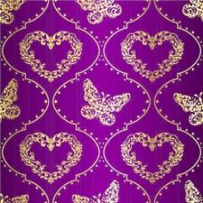 金色和紫色的复活节图案背景矢量03
