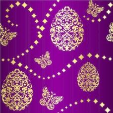 金色和紫色的复活节图案背景矢量01