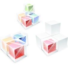 彩色透明立方体矢量背景