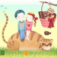 坐在猫咪身上的孩子