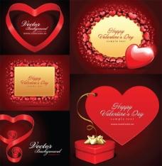 浪漫的情人节爱心卡矢量素材