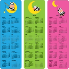 可爱的2011日历海报矢量- 2