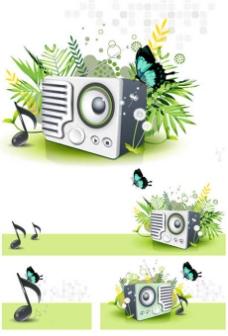 大自然的音乐元素矢量素材