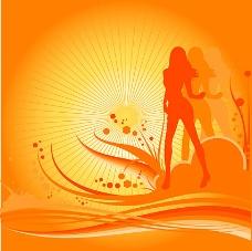随着设计元素V趋势的女舞者的剪影
