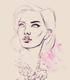 珍珠漂亮的女人肖像素描矢量