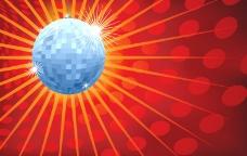 水晶球和迪斯科灯背景辐射矢量