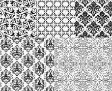 欧洲风格的黑色和白色的花纹背景矢量垫
