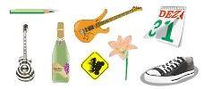 铅笔,吉他,鲜花,日历,鞋矢量素材