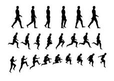对人物动作剪影矢量素材的运动