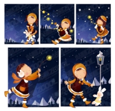 冬天的夜晚的主题(韩国iclickart四季切