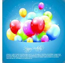 贺卡矢量06生日快乐的气球