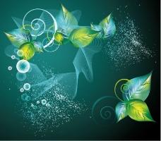 摘要绿色花卉背景矢量涡流