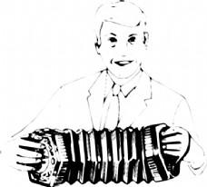 男人玩手风琴艺术剪辑