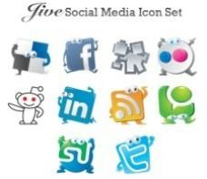 Jive社交媒体矢量图标集