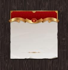 木材背景矢量金色丝带