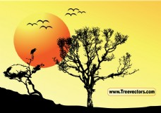 日落树背景矢量