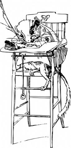 坐在椅子上的剪贴画的女孩